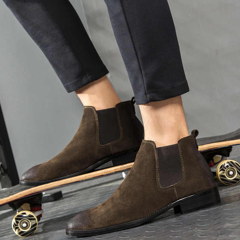 Kanye West Chelsea Laarzen 100% Echt Leer Hoge Kwaliteit Vintage Mannen Laarzen Crêpe Bodem Enkel Chelsea Laarzen Handgemaakte Mannen ST403