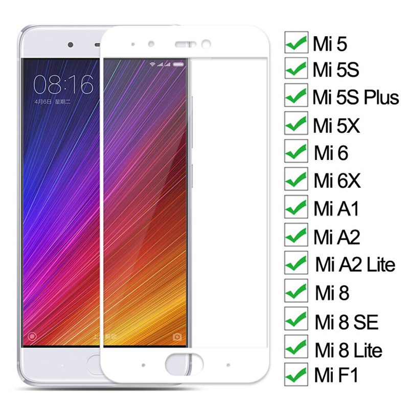 9D Tempered Glass For Xiaomi Mi 5 5S Plus 5X 6 6X A1 A2 Lite Screen Protector On Mi 8 SE Lite Pocophone F1 Protective Glass Film