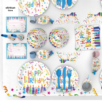 Birthday Party Disposable Tableware Cup Plate Straws Colorful 1st Birthday Party Decor Kids Baby Shower Party Supplies