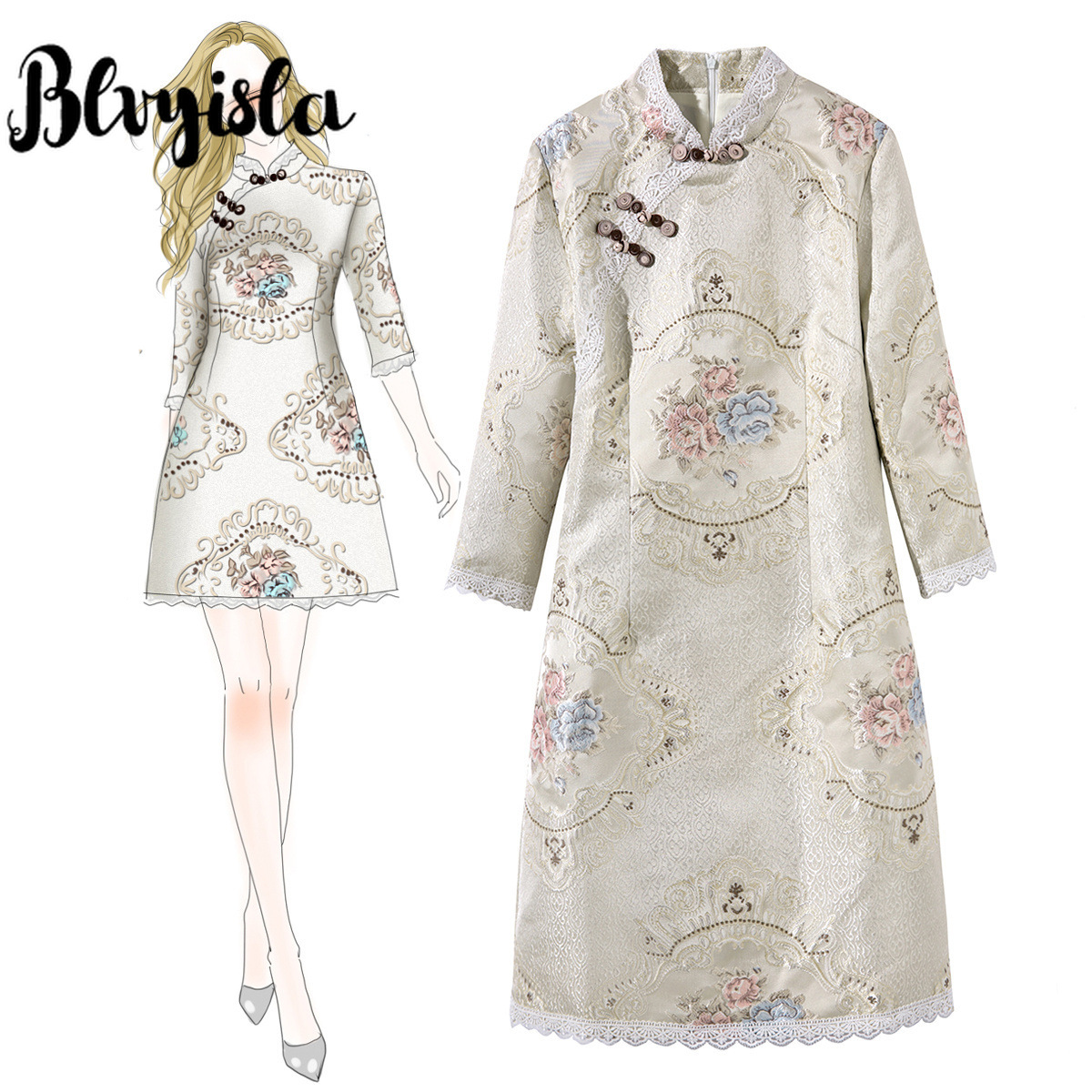 Blvyisla rétro Mini Cheongsam Slim femmes Sexy chinois Jacquard broderie robe chine qipao robes asie taille