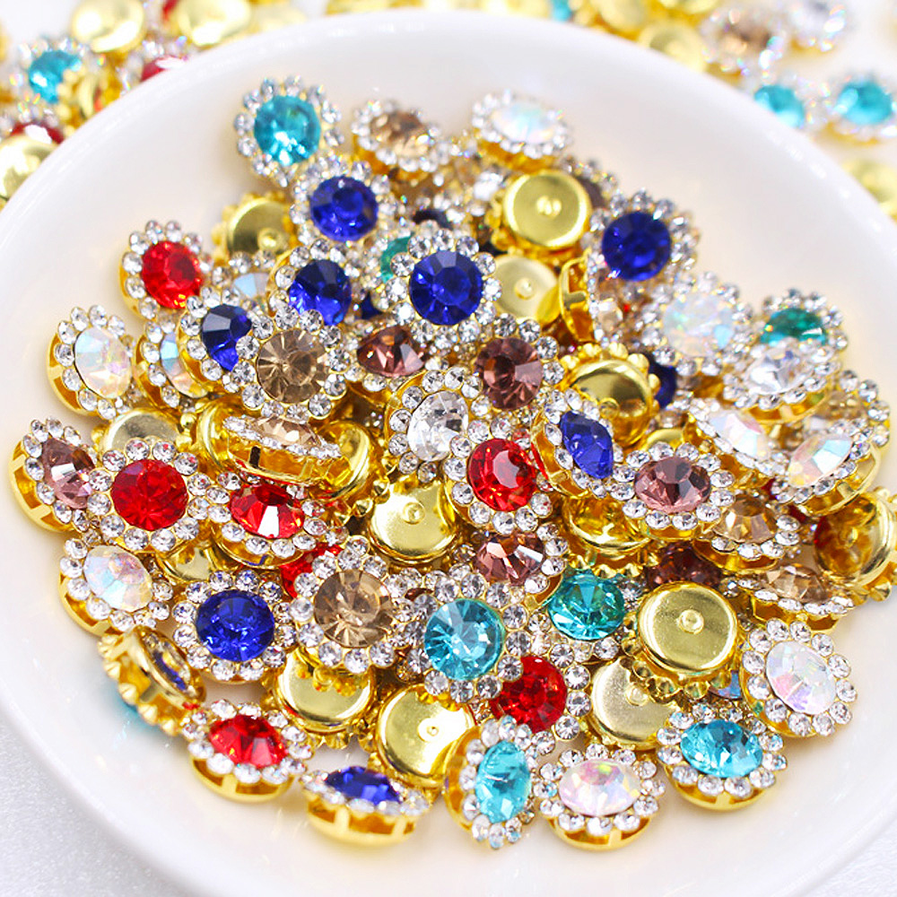 Claw Cup Rhinestones Strass 10mm Mix Color Shiny Crystals Glass Stones Trim Gold Base Non Hot Fix Sew On Rhinestones For Clothes
