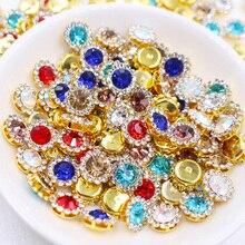 Стразы в форме когтей, 10 мм, разноцветные блестящие кристаллы, стеклянные камни, отделка золотым основанием, Стразы без горячей фиксации для одежды