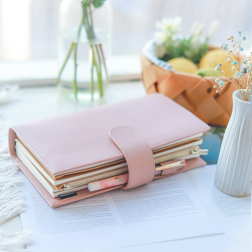 Moterm Companion Travel Journal Standard Size Notebook Genuine Cowhide Organizer in Floppy Version with Back Pocket and Clasp 4