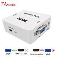 FANGTUOSI-convertidor MINI VGA a HDMI, 1080P, compatible con Audio VGA2HDMI, adaptador de caja de vídeo para portátil para proyector HDTV
