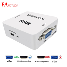 FANGTUOSI 1080P MINI VGA to HDMI-compatible converter with Audio VGA2HDMI Video Box adapter for laptop for HDTV projector