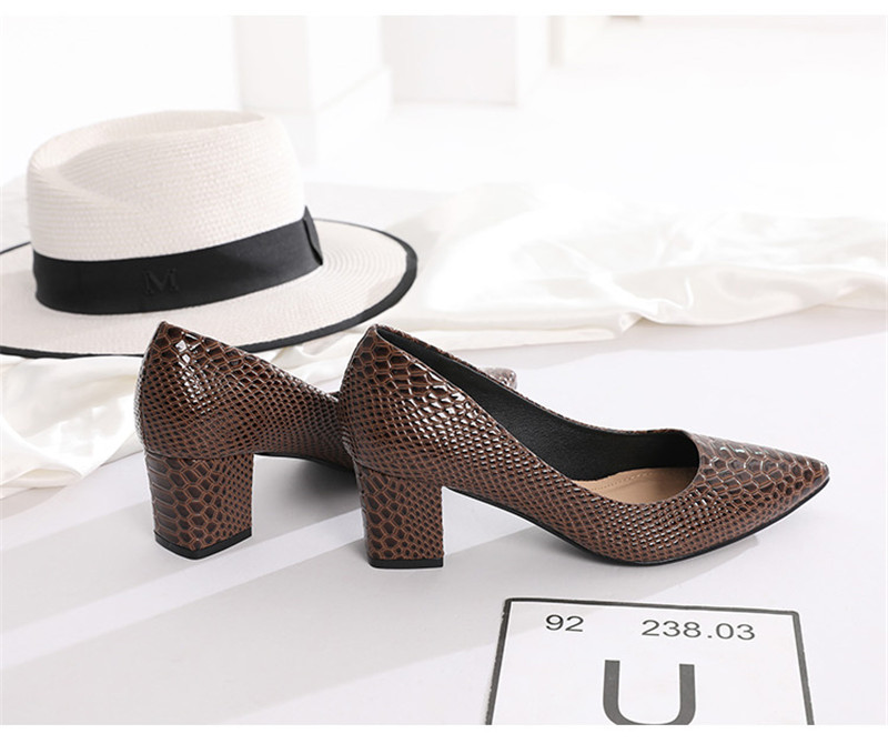 2020 New Women's Pumps Shoes Thick Heels Single Female Pumps Shoes Woman Korean Crocodile Pattern Leather Office Lady Work Shoes (20)