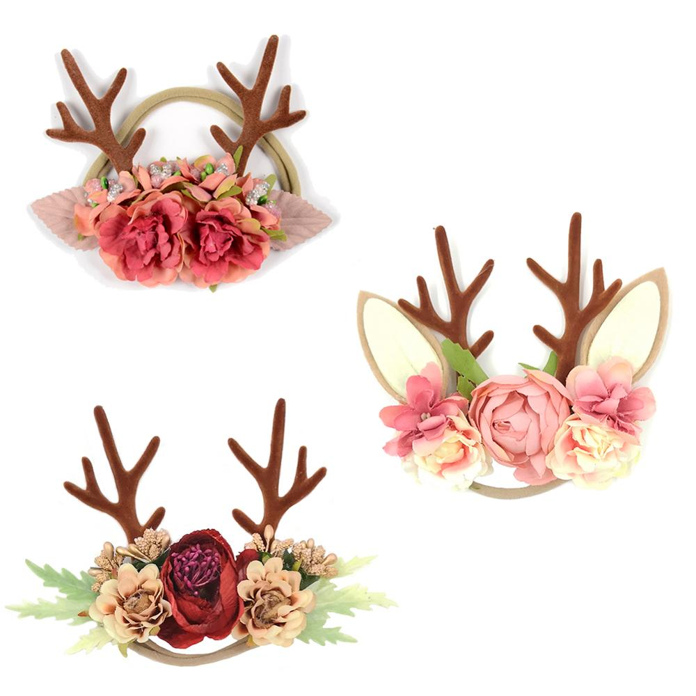 Antler Nylon Baby Headband Christmas Deer Ear Flower Crown Baby Girls Hairband For Newborns Photography Props Kidocheese