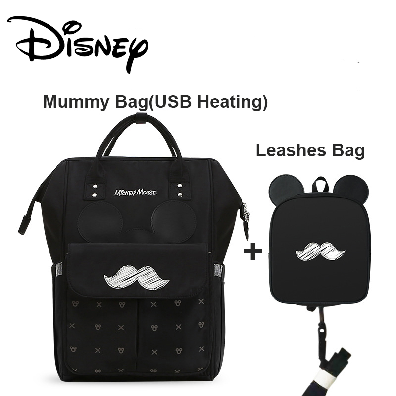 Disney 2pcs Diaper Bag Backpack USB Bottle Insulation Bags Big Capacity Travel Oxford Feeding Baby Care Mummy Nappy Bag