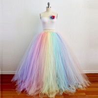 Extra Puffy Pastel Rainbow Maxi Tulle Skirt for Alternative Weddings Ball Gown Colorful Tulle Adult Long Skirt Custom Made