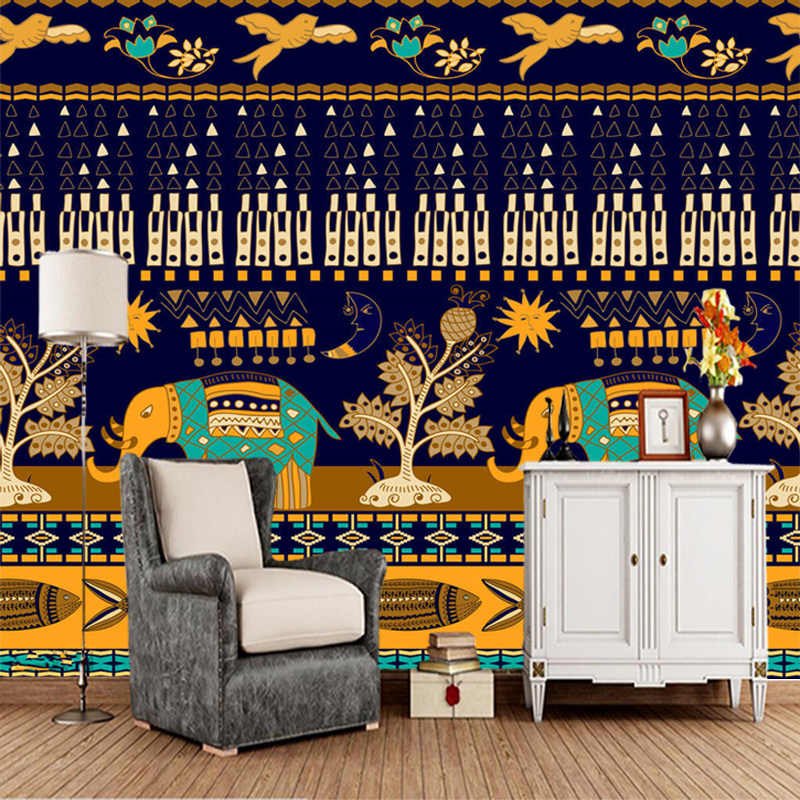 Papel De Parede Indian Style Cartoon Elephant 3d Wallpaper Living Room Tv Wall Bedroom Wall Paper Home Decor Restaurant Mural Aliexpress