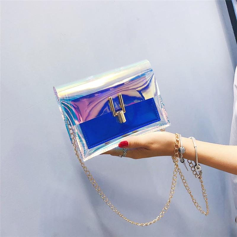 Bolsos bandolera para mujer 2019 bolsas transparentes láser moda mujer estilo coreano bolso de hombro mensajero PVC bolsa de playa impermeable
