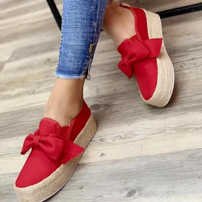 Bahar kadın daireler 2020 ayakkabı üzerinde kayma rahat bayanlar kanvas ayakkabılar yay kalın alt tembel loafer'lar kadın Espadrilles düz