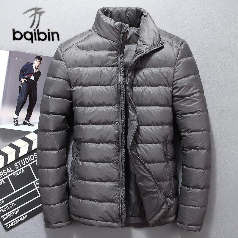 Winter Men's White Duck   Down   Jacket Men Short Stand Collar   Down     Coat   High Quality Soft   Down   Parkas Puffer Overcoat Male Jk-68005