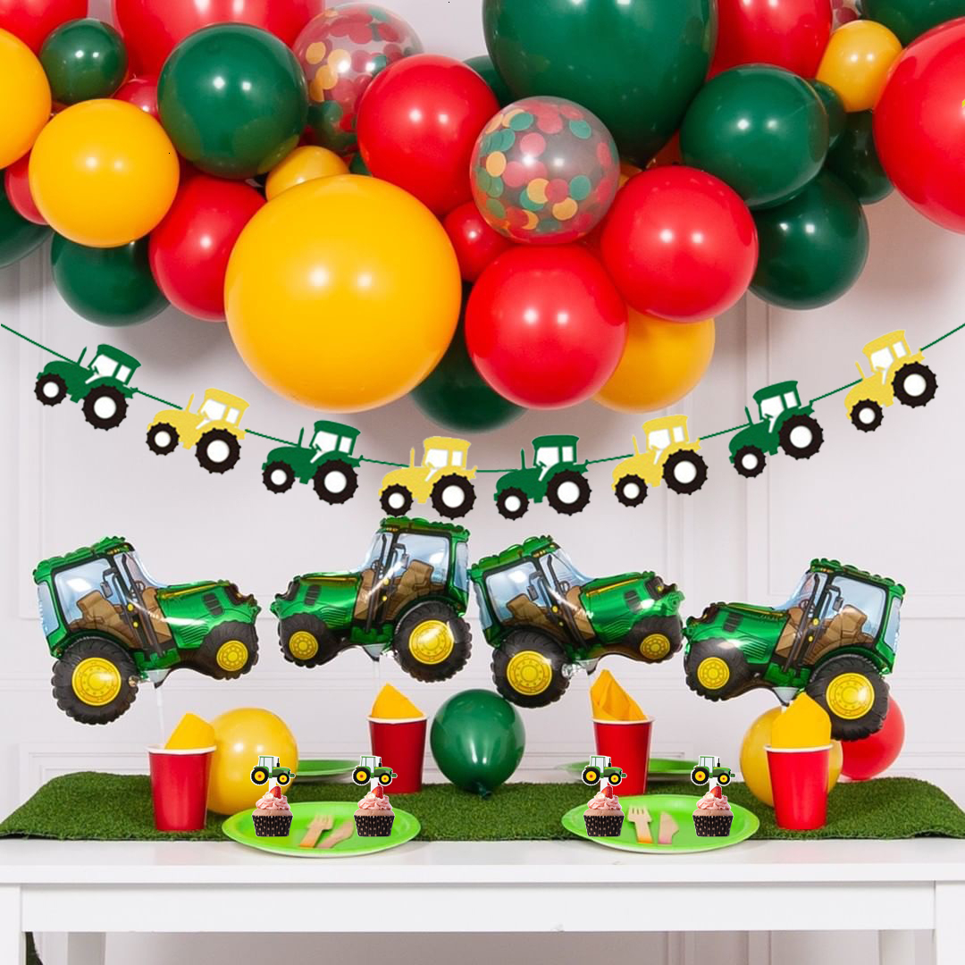1Set Farm Theme Green Tractor Inflatable Balloons Happy Birthday Party Decoration Kids Birthday Excavator Vehicle Banner