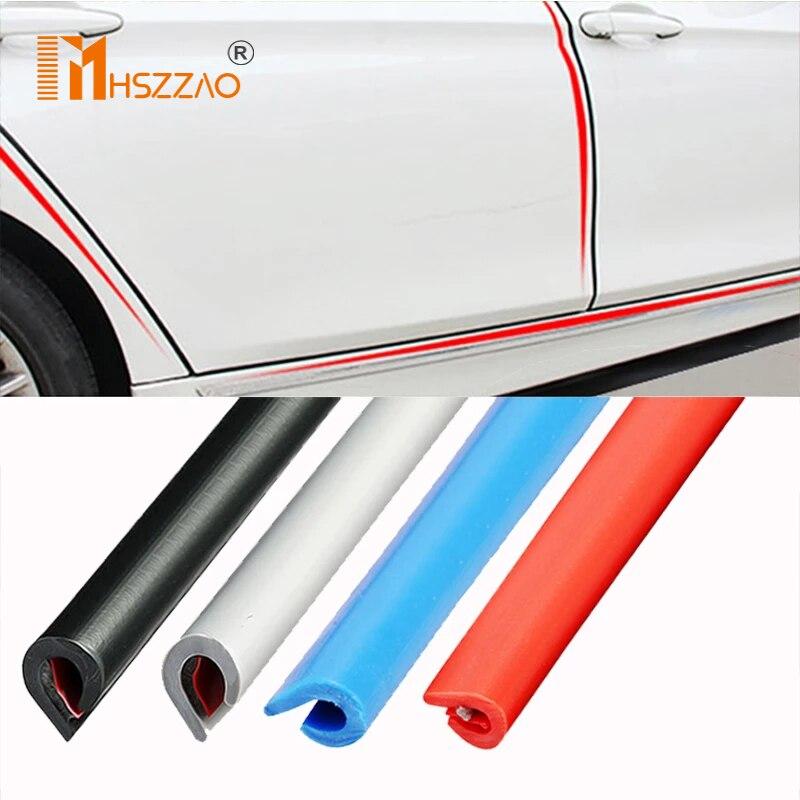 Tiras protectoras gruesas para puerta de coche, molduras de puertas laterales, Protector de arañazos adhesivo para vehículo, 5M/10M