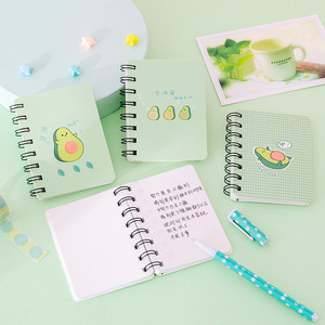 A7 Adorable Cute Avocado Notebook Rollover Mini Portable Coil Notepad Diary Book Exercise Book School Office Supply