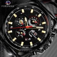 Forsining relógio masculino esporte mecânico relógio de pulso automático auto vento data 3 mostradores negócios couro brilhante à prova dwaterproof água relogio|Relógios mecânicos| |  -