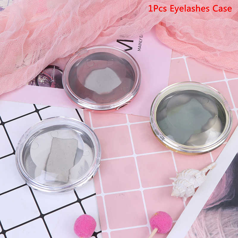 1Pcs New Eyelash Empty Box Eyelashes Case Storage Box False Eye Lashes Case Organizer Round Lash Cases