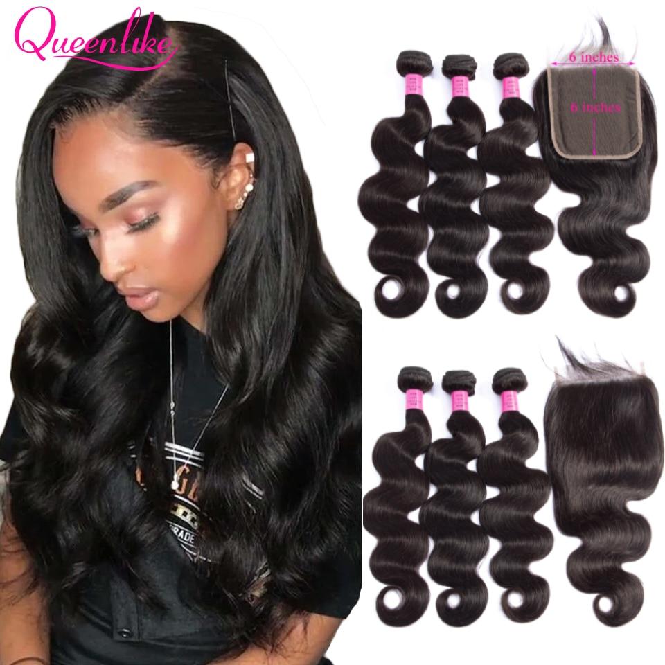 Большие 6x6 застежки и пряди Queenlike волосы бразильские волнистые волосы с 6*6 кружевной застежкой Remy 3 человеческие волосы пучки с застежкой