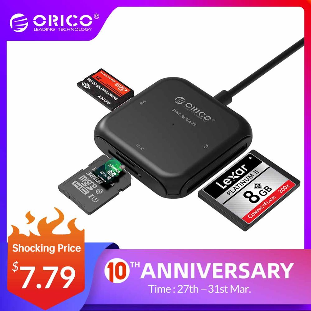 ORICO 4 In 1 USB 3.0 Smart Card Reader Flash Multi Memory Card Reader For TF/SD/MS/CF 4 Card Read & Write Simultaneously- CRS31A