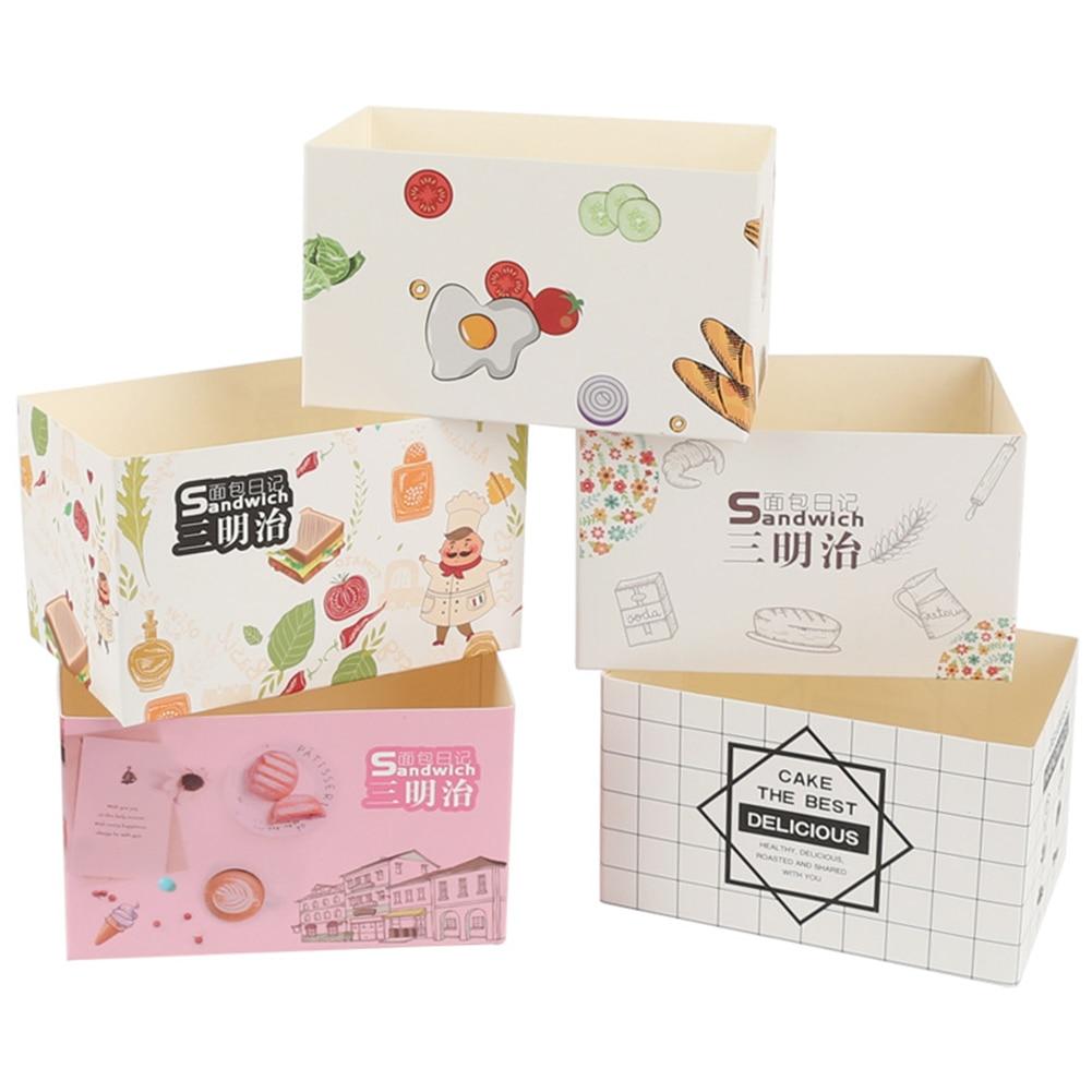 50Pcs burger hamburger box Packaging Sandwich Wrapping burger paper Thick Egg Toast bread bread box Breakfast Boxes supplies