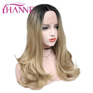 Image 2 - Hanne brown/loira ombre peruca longa ondulado resistente ao calor fibra peruca de cabelo sintético perucas da parte dianteira do laço para a mulher preta/branca
