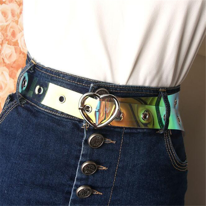 Women Waist Belt Resin Transparent Long Belts Dress Band Female Heart Pin Buckle Cinturon Mujer Cinturone Para Hombre Strap Lady