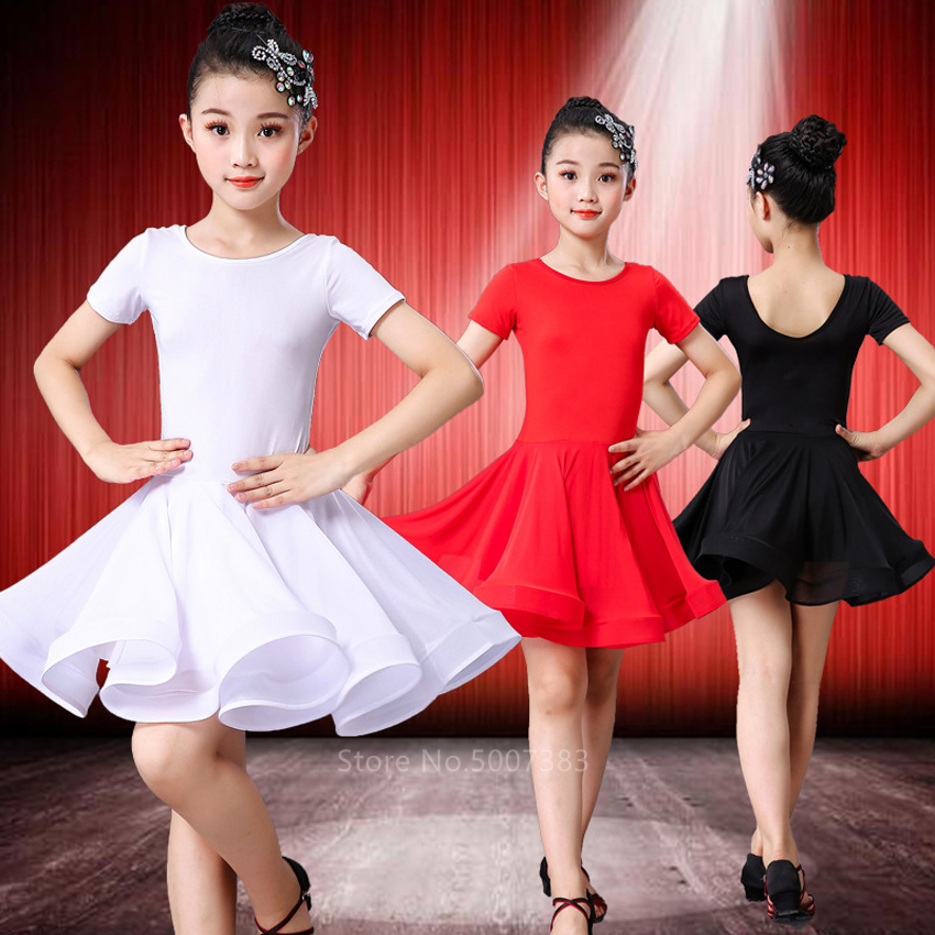 Girl Latin Dance Dress Ballroom Children Dance Costume Salsa Black Kids Red Tango Dresses Dancing Stage Performance Clothing