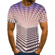 Camisa masculina tridimensional casual, camisa de verão impressa em 3d com cuello redondo, lazer e entretenimento