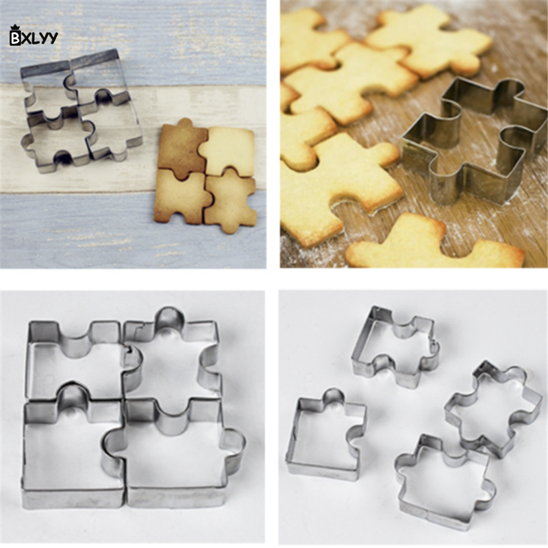 BXLYY 4pc Stainless Steel Cookie Cutter Jigsaw Mold DIY Baking Accessories Baking Dish Kitchen Accessories Pastry Supplies.7z