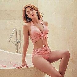 Новая Корейская версия женских купальных костюмов раздельное бикини Двухсекционный набор с большой грудью сексуальный горячий весенний к... 2