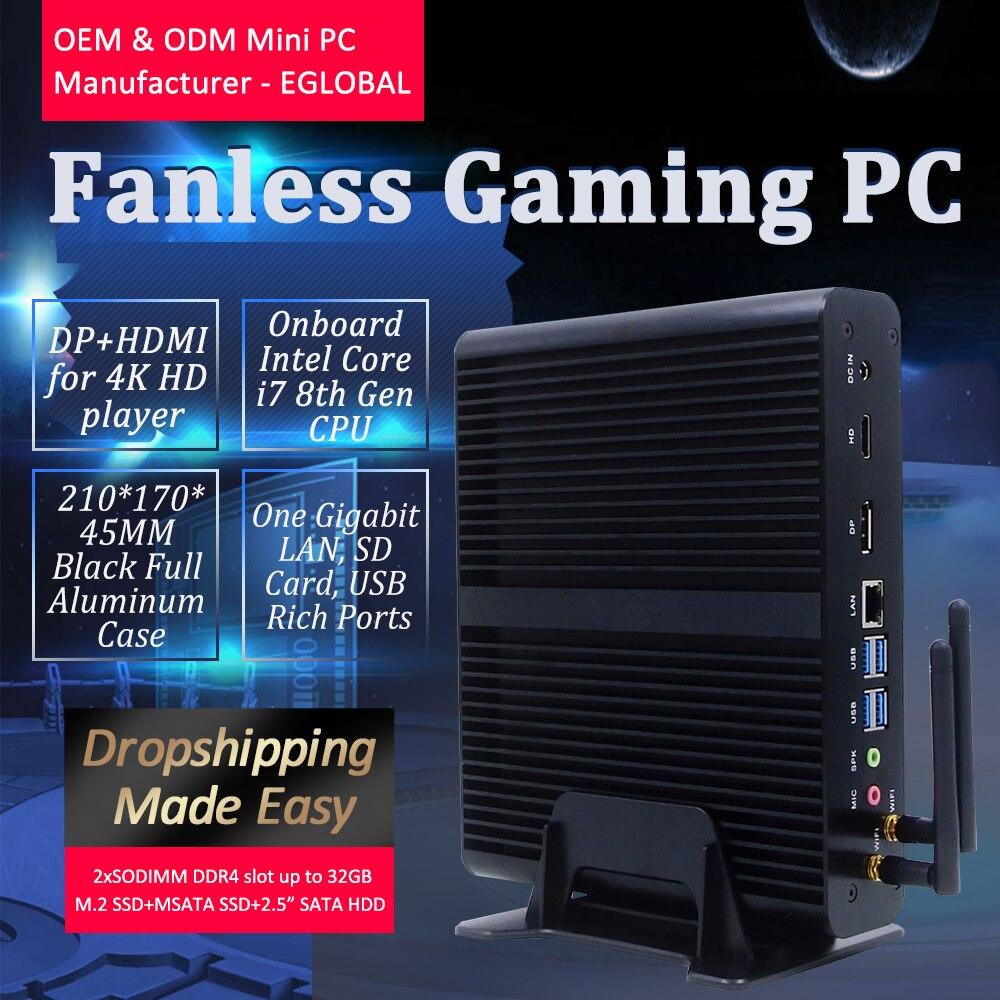 EGLOBAL Gaming Computer DDR4 64GB RAM MAX I7 Processor 7th 8th Fanless Mini Pc