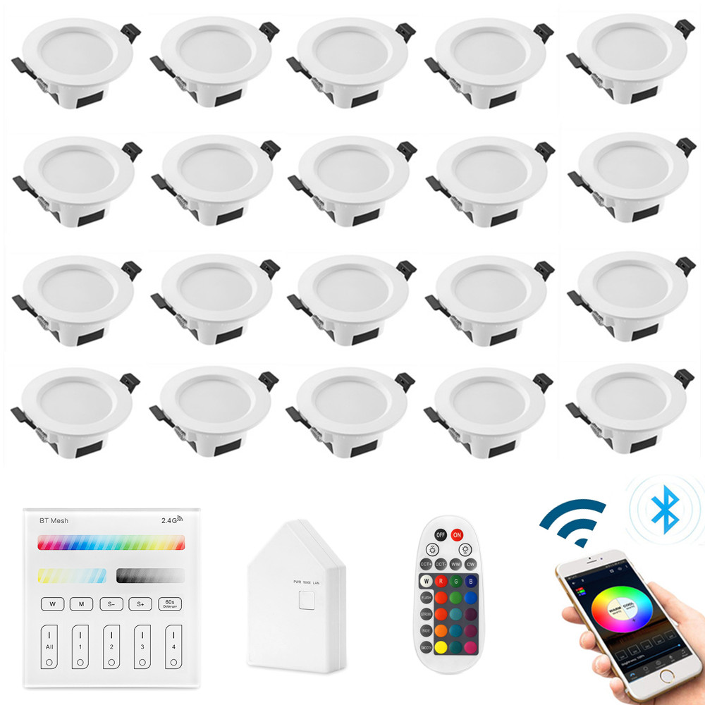 20X RGB Warm Cool White 3in1 LED Ceiling Lamp Panel Down Light WIFI/Bluetooth Mesh /Wall Touch/APP/Voice Controller Timer Dimmer