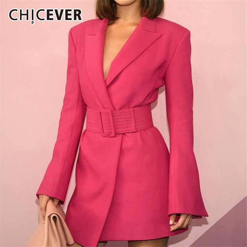 CHICEVER Elegant Women's Dress Notched Long Sleeve High Waist With Sashes Irregular Mini Dresses Female Autumn Fashion 2020 New