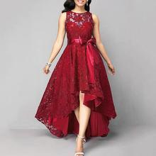 formal dress Women's solid color sleeveless lace large swing dovetail irregular long dress dress with belt abendkleider|Dresses|   - AliExpress