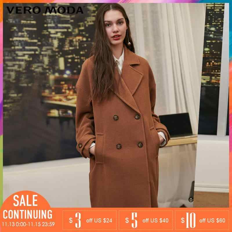 Vero Moda 2019 herfst Winter Revers Kraag double-breasted wollen jas | 318327564