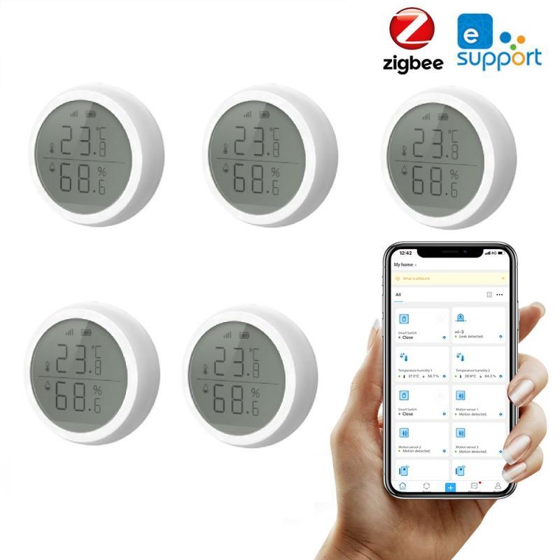 Датчик температуры и влажности EWelink Zigbee с ЖК-экраном, умный гигрометр, термометр, управление через приложение, работает с концентратором Zigbee