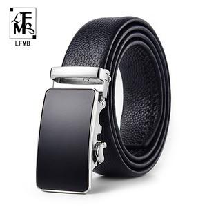Image 1 - belt male genuine leather mens simple belt fashion designer business new belt Jaguar pattern decorative alloy automatic buckle