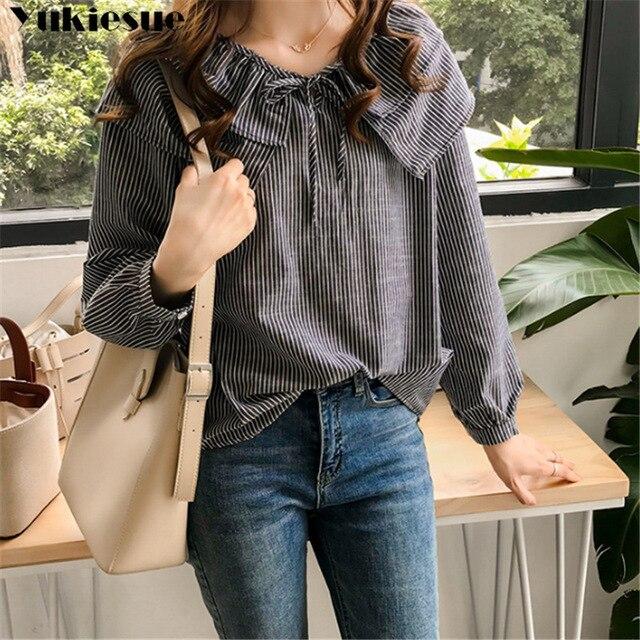 woman blouses long sleeve ruffless striped summer women's shirt blouse for women blusas womens tops and blouses chiffon shirts 2