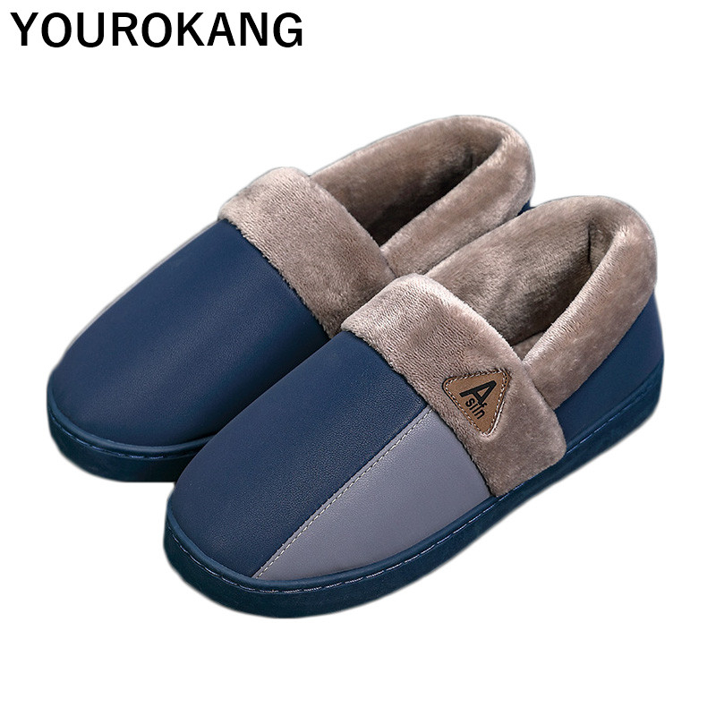 Winter Warm Shoes Men Home Slippers Unisex Soft Plush Household Slipper For Lovers PU Leather Waterproof Floor Cotton Shoes