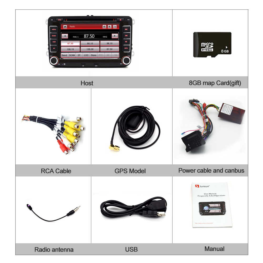 "Junsun 2 الدين 7 ""مشغل أسطوانات للسيارة راديو مشغل وسائط متعددة ل VW/سكودا/اوكتافيا/فابيا/السريع/اليتي/سيات/ليون لتحديد المواقع الملاحة سيارة الصوت ستيريو"