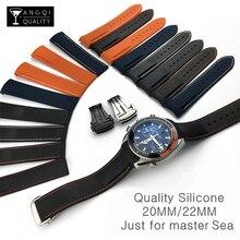 Correa de reloj de silicona de extremo curvado, 20mm, 22mm, 19mm, 21mm, Omega Watch AT150 MasterSea 007, para Seiko, marca de correa