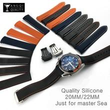 Extremidade curvada 20mm 22mm 19mm 21mm borracha silicone pulseiras de relógio para omega watch at150 mastersea 007 para seiko cinta marca pulseira