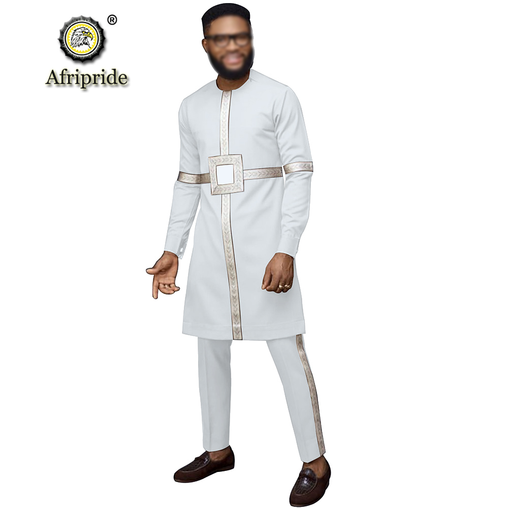 African Men Traditional Clothing Set Dashiki Long Shirts And Ankara Pants Wax Attire Suit Outfit Clothes AFRIPRIDE S1916051