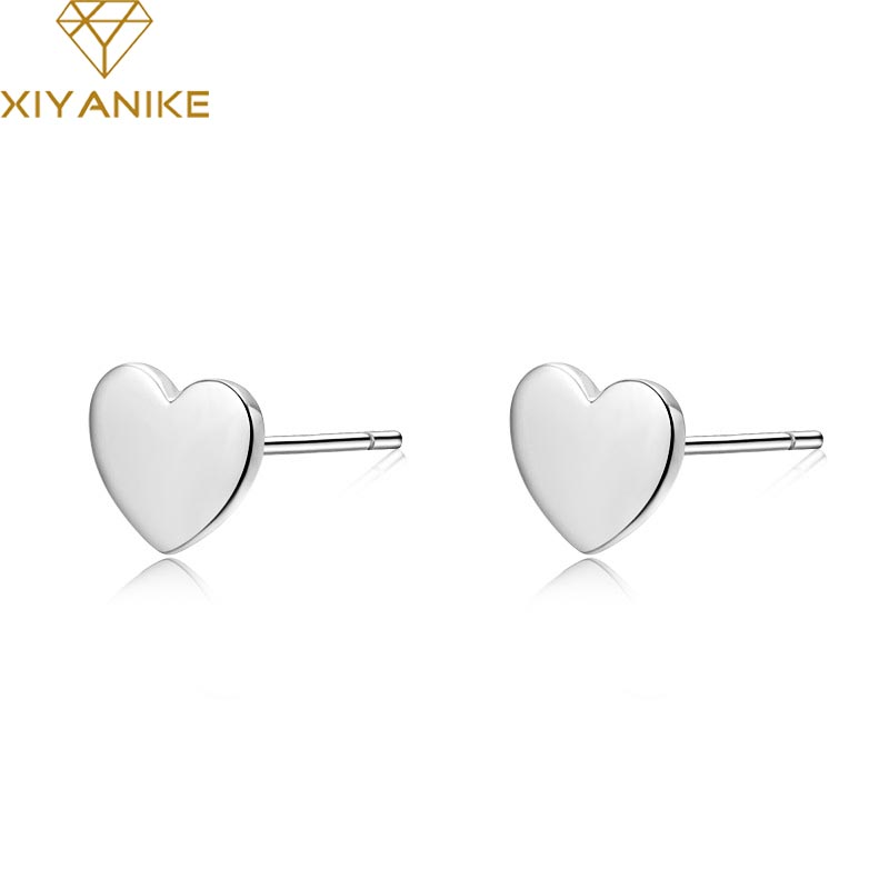 XIYANIKE 925 Sterling Silver Hot Fashion Prevent Allergy Heart-shaped Stud Earrings For Women Lovers Simple Handmade Jewelry