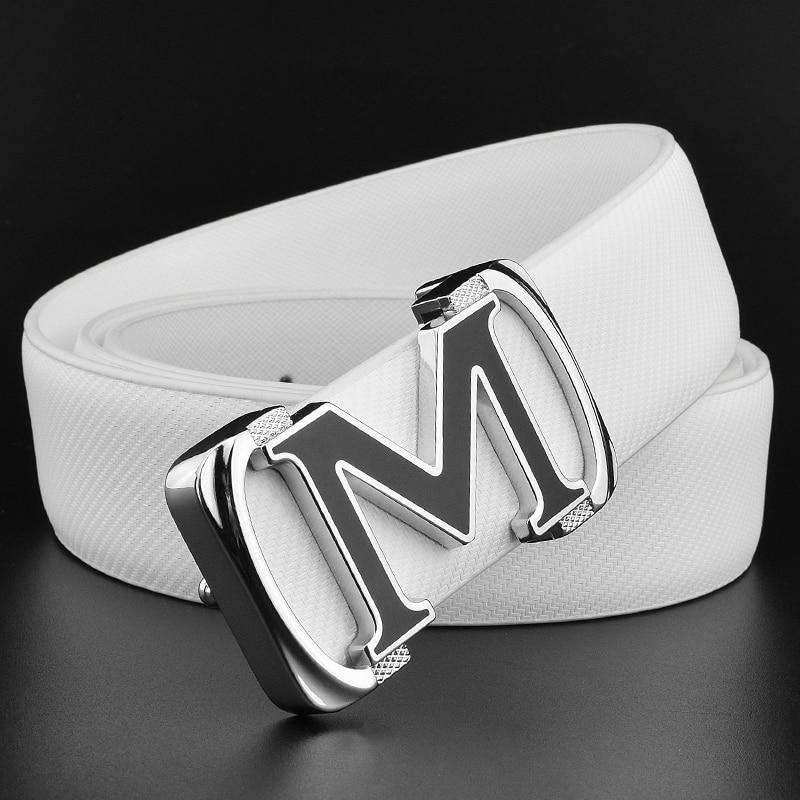 High Quality M letter ladies belts luxury brand belt transparent black belt for man Smooth buckle mens genuine leather belt