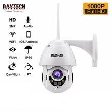 Cámara IP DAYTECH 1080P, cámara de vigilancia WiFi, CCTVMonitor Monitor, grabación impermeable, Audio bidireccional interior/exterior, inclinación (H06)