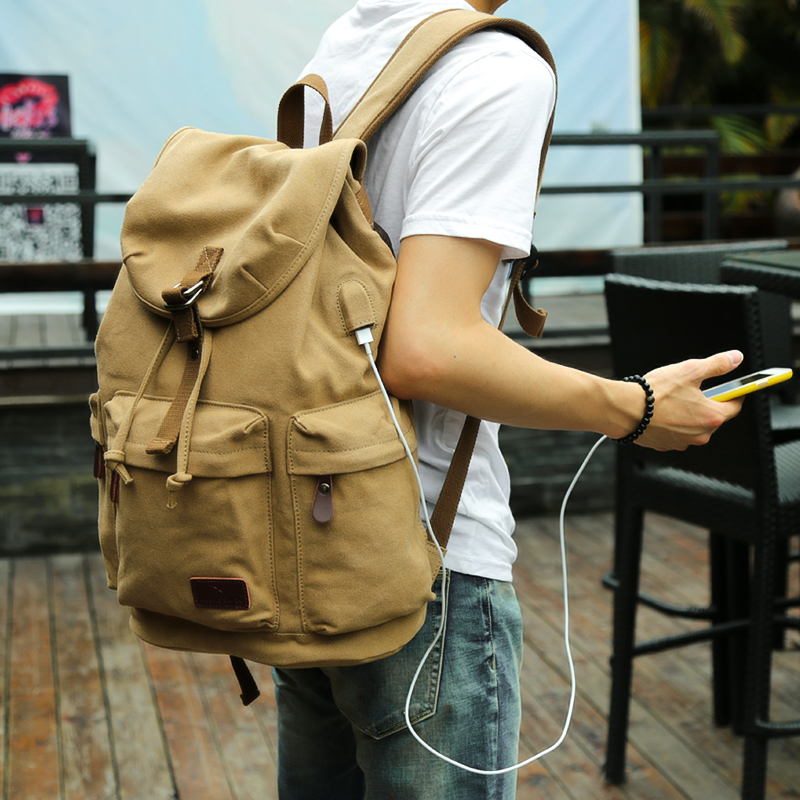 MOYYI Men's Backpack Vintage Canvas Backpack School Bag Men's Travel Bags Large Capacity Travel Laptop Backpack Bag