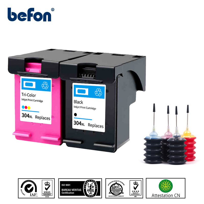 befon 304XL Refilled <font><b>Ink</b></font> <font><b>Cartridge</b></font> <font><b>HP</b></font> 304 XL HP304 Replacement for DeskJet <font><b>2620</b></font> 2630 ENVY 5030 5020 5032 3720 3730 5010 Printer image