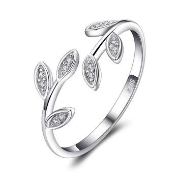 Bijoux palace Olive feuille CZ anneaux 925 en argent Sterling anneaux pour les femmes ouvert empilable anneau bande argent 925 bijoux Fine bijoux